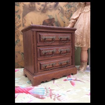 """Antique Miniature French Commode for Fashion Doll or Bebe Display. 8.5"""""""