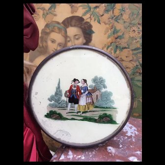 Charming Early French Antique Eglomise Bon Bon Box for your Doll display.