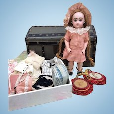 """RARE 9.5"""" Size 1 Bebe Jumeau with her Trunk and Trousseau."""