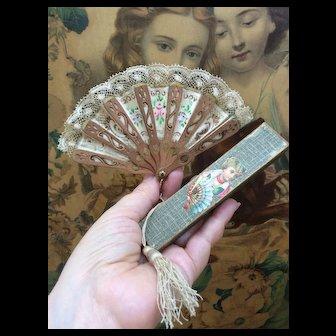 Fabulous Miniature French Fashion Doll Fan in Original Box for Huret, Rohmer, Bru, Jumeau