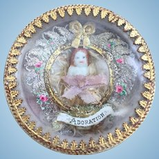 Small Antique French Reliquary for Fashion Poupèe and Bebe Display Mignonette Room Setting or Dolls House.