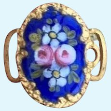 Tiny Antique French Enamel Buckle/ Hair Ornament for French Fashion or  small Bebe.