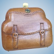 Unusual Finely carved Antique Wooden Purse for French Fashion Poupee or Bebe.