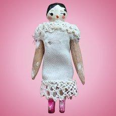 """Antique Grodnertal Wooden Doll. 1.75"""""""