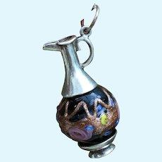 Miniature Silver and Murano Glass Fashion Poupee Chatelaine Bottle.