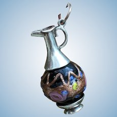 Miniature Silver and Murano Glass Fashion Poupee Chatelaine Bottle.