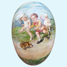 Antique German Lithographed Paper EGG Candy Container. Charming scenes of Children.