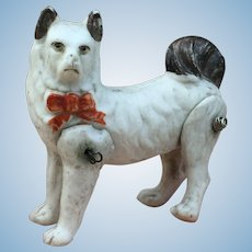 Rare Antique All Bisque wire jointed Dog for Mignonette Display.
