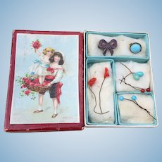 Lovely French Antique Box of Doll Jewellery