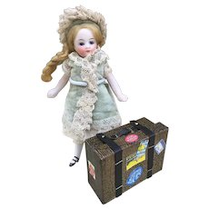 Candy Container Suitcase Travel Bag for Mignonette, Size1 Bebe Jumeau or Fashion Poupee Display.