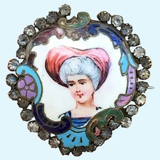 Beautiful French Antique Enamelled Brooch Pin for French Fashion Poupee or Bebe