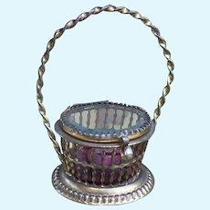 Gorgeous Small Antique French Ormolu Vitrine Basket, for French Fashion Poupee or Bebe. Huret, Bru, Jumeau.