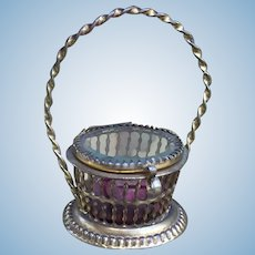 Gorgeous Small Antique French Ormolu Vitrine Basket, for French Fashion Poupee or Bebe. Huret, Bru, Jumeau.