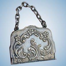 Tiny Antique French Photo Album Purse Bag for Mignonette or French Fashion Poupee.
