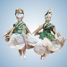 Charming pair of Grodnertal Wooden Dolls in All Original Theatre costumes.