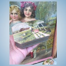 Small Antique Candy Box with pretty lithographed lid. Perfect for display with your French Bebe or Fashion Poupee.