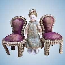 Two lovely Antique Miniature Shell work and silk Chairs for Large Dolls house or Mignonette Room Setting.