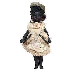 "Rare Antique Black All Bisque French Mignonette 4.25"" All Original."