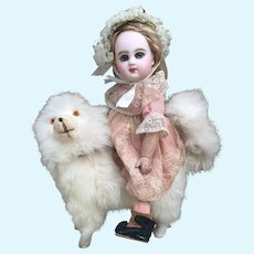 """Lovely 8.5"""" Antique Spitz Pomeranian Dog CANDY CONTAINER for French Bebe or Fashion Poupee Display."""
