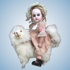 "Lovely 8.5"" Antique Spitz Pomeranian Dog CANDY CONTAINER for French Bebe or Fashion Poupee Display."