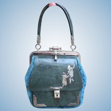 Lovely French Antique Childs Sac de Voyage Etui Bag for French Bebe Bru, Jumeau or large French Fashion Poupee.