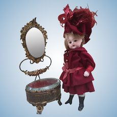 Gorgeous Miniature French Boudoir trinket Vitrine and Vanity Mirror Stand for French Fashion Doll, Mignonette and Size 1 Bebe display.