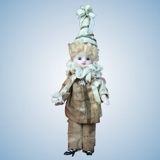 Sweet Antique All Bisque French Mignonette In All Original Pierrot Costume.