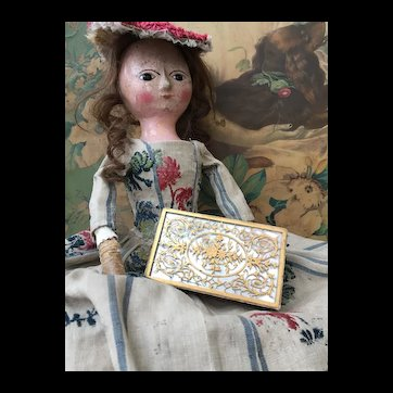 Beautiful EARLY Antique French Candy Box for your Early Wooden or Fashion Doll Display.