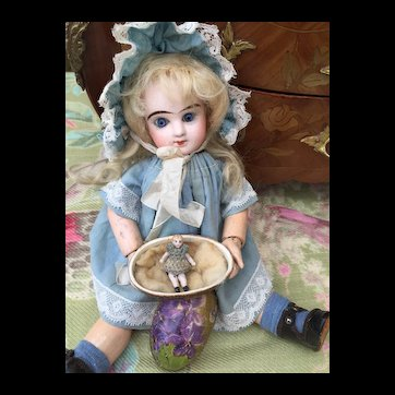 Tiny All Bisque Carl Horn Doll in Tiny Antique Cardboard Egg for Bebe Jumeau size 1 Display.