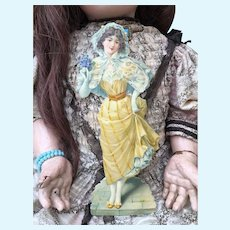 """Beautiful Antique Die Cut, Embossed Card, Fashion Lady Plate. 8"""""""