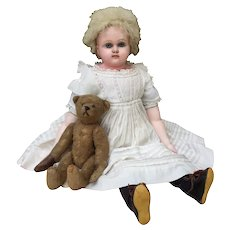 Beautiful and Unusual Antique Wax Over Doll with the Prettiest Face!
