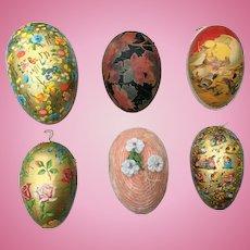 Six lovely Vintage cardboard Easter Eggs,  mostly German. For Mignonette display.