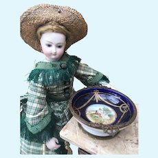 Lovely Antique French Porcelain and Bronze Trinket Dish for your Fashion Doll's Treasures. Bru, Jumeau, Huret, Rohmer.