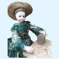 Miniature French Ormolu and Milk Glass Basket for your Fashion Poupee or size 1 Bebe. Bru, Jumeau, Huret, Rohmer