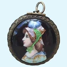 Exquisitely Enamelled Miniature Antique Compact for French Fashion Poupee Huret, Rohmer, Bru, Jumeau.