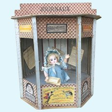 RARE French Toy JOURNAUX  Miniature Newspaper Kiosk For French Fashion or small Bebe Display. Perfect for Size 1 Bebe Jumeau. AU PARADIS DES ENFANTS.