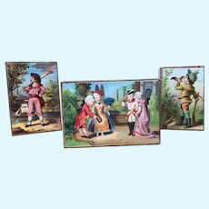 Beautiful Set of Three Miniature Antique Lithographed Boxes in Excellent Condition. For your Bebe's or Fashion Poupee's Accessories.