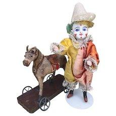 Charming All Original French Polichinelle Clown Mignonette by Louis Schneider et Fils. Guignol Theatre.
