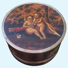 Early and Rare 18th Century Fine Vernis Martin Hand painted lidded pot / box for Early Wooden Doll Display.