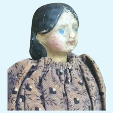 """Early Small size Papier-mâché Doll . 9"""""""