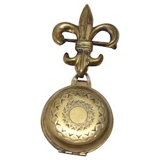 Vintage 1940's Fleur de Lis Photo Locket Watch Pin Style Gold Plated Brooch