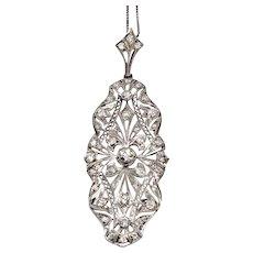 Art Deco 1920s Platinum 950 Diamond Lace Filigree Pendant 1.30cts