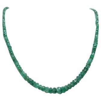 fine emerald beads necklace, 14 K clasp necklace