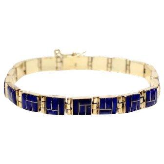 Sale! 14k Yellow Gold Lapis Bracelet Vintage Blue
