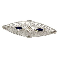 14k White Gold Genuine Sapphire and Diamond Brooch Vintage Art Deco