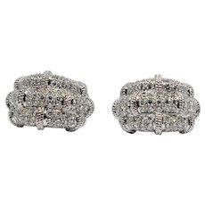 Stunning Diamond Earrings Rope Design 18k White Gold 4.75 cts