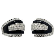 Sale! Onyx and Diamond Earrings 18k White Gold 5.50 cts total