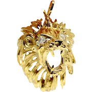 Gold Lion Head with diamond eyes pendant necklace