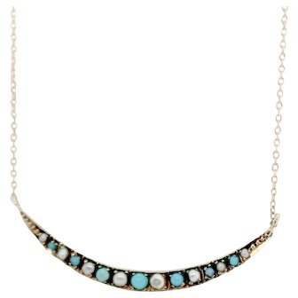 14k Yellow Gold Victorian Natural seed pearls and turquoise necklace