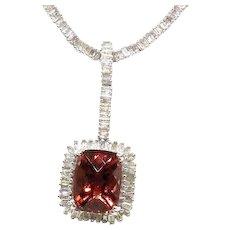 Diamond tennis necklace with Tourmaline pendant 18k White Gold